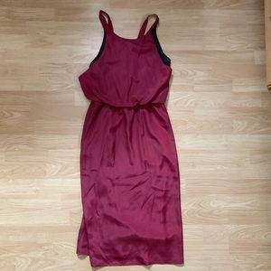 Black and red halter ribbon dress
